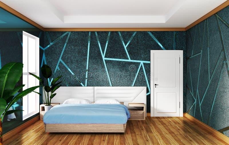 Εσωτερικό κρεβατοκάμαρων σοφιτών με το μπλε συγκεκριμένο υπόβαθρο σχήματος, ελάχιστα σχέδια r απεικόνιση αποθεμάτων