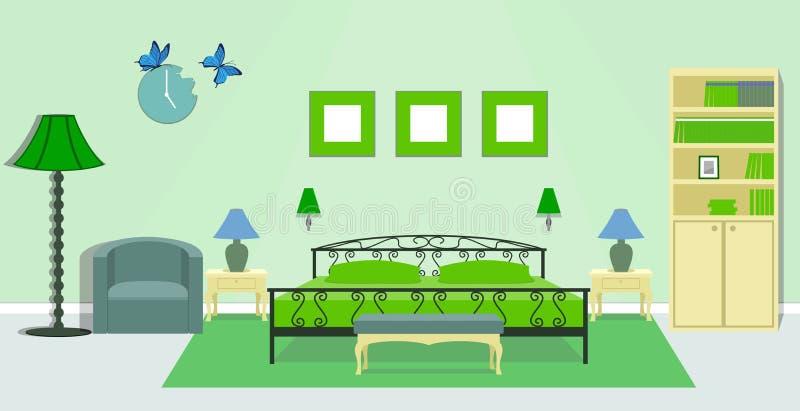 Εσωτερικό κρεβατοκάμαρων στα πράσινα χρώματα διανυσματική απεικόνιση