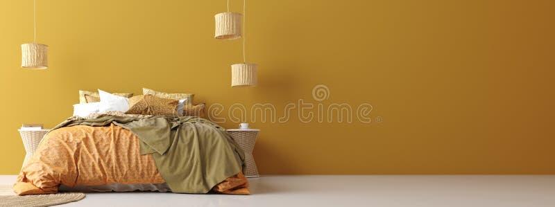 Εσωτερικό κρεβατοκάμαρων στο Βοημίας ύφος με το διαμορφωμένο κρεβάτι, πανοραμική άποψη απεικόνιση αποθεμάτων