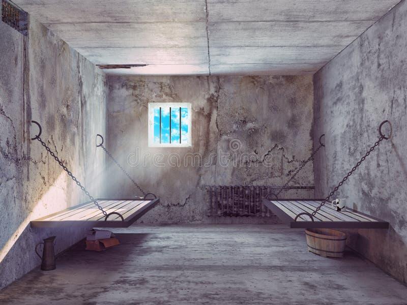 Εσωτερικό κυττάρων φυλακών ελεύθερη απεικόνιση δικαιώματος