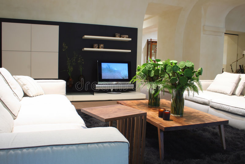εσωτερικό λευκό καναπέδ& στοκ φωτογραφίες με δικαίωμα ελεύθερης χρήσης