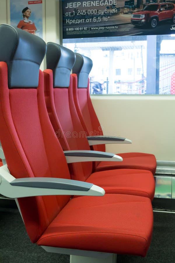 Εσωτερικό λεωφορείων αυτοκινήτων σιδηροδρόμων στοκ εικόνες