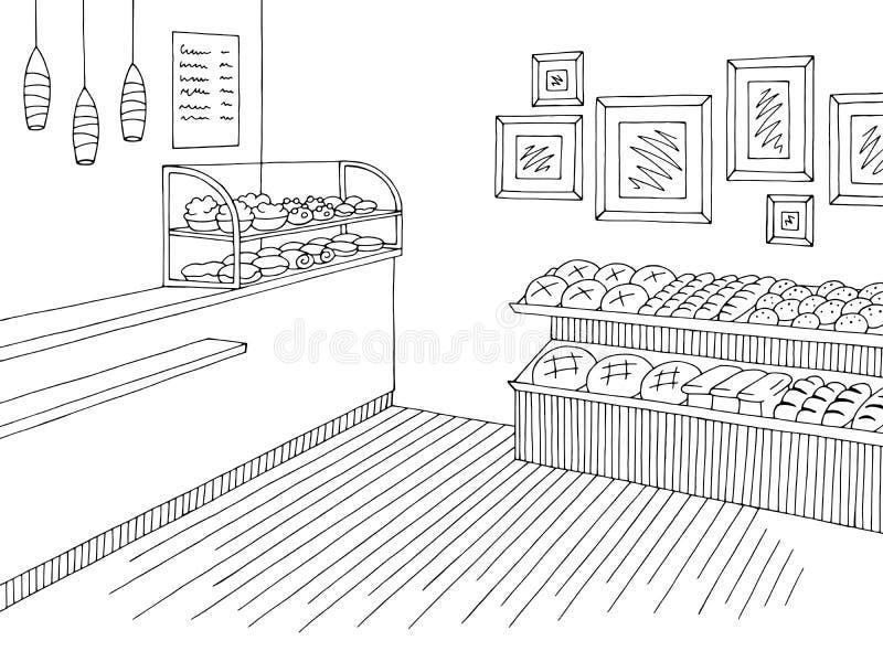 Εσωτερικό μαύρο άσπρο γραφικό διάνυσμα απεικόνισης σκίτσων καταστημάτων μανάβικων απεικόνιση αποθεμάτων