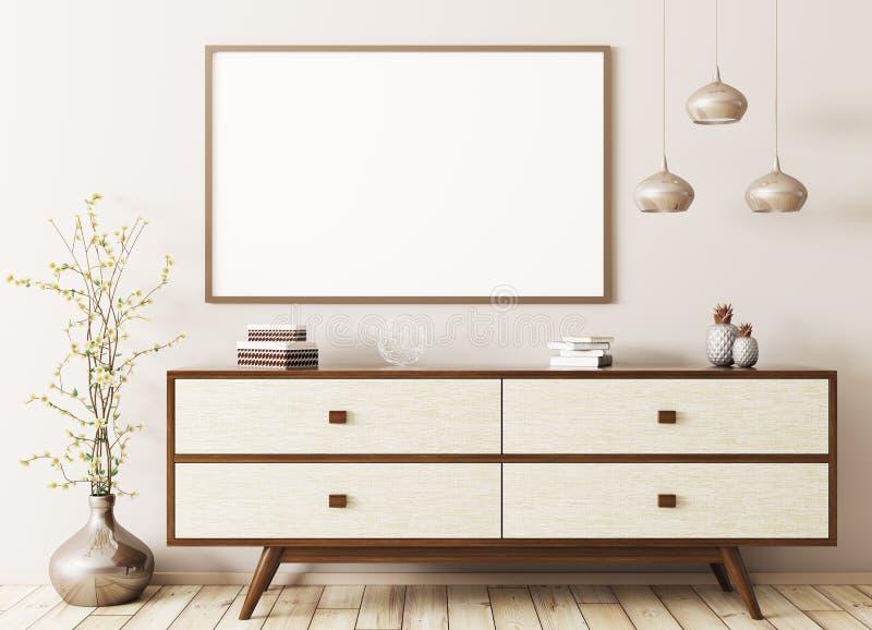 Εσωτερικό με την ξύλινη τρισδιάστατη απόδοση κομμών και αφισών διανυσματική απεικόνιση