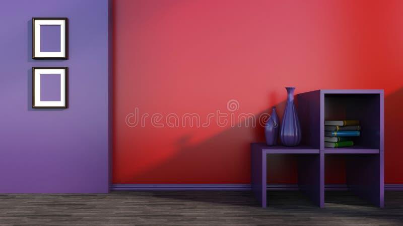 Εσωτερικό με τον κόκκινο τοίχο και το πορφυρό ράφι ελεύθερη απεικόνιση δικαιώματος