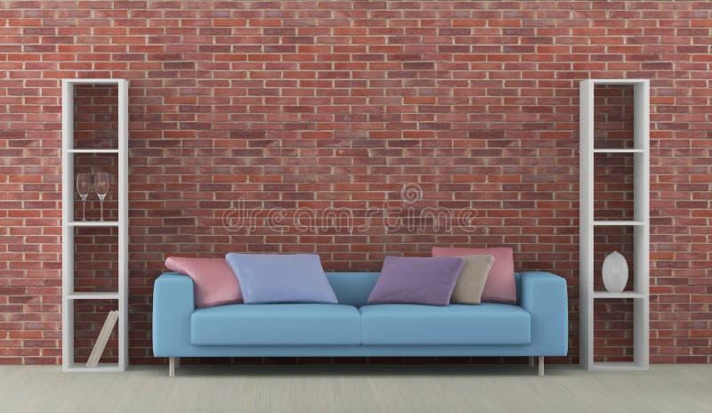Εσωτερικό με τον μπλε καναπέ