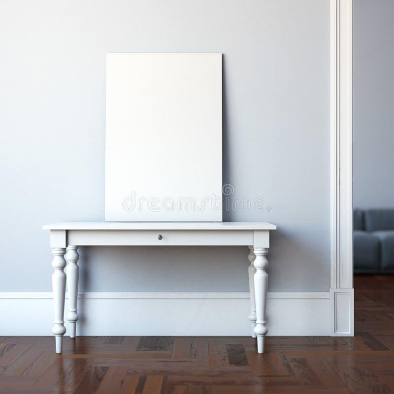 Εσωτερικό με τον πίνακα και τον κενό καμβά τρισδιάστατη απόδοση στοκ εικόνες