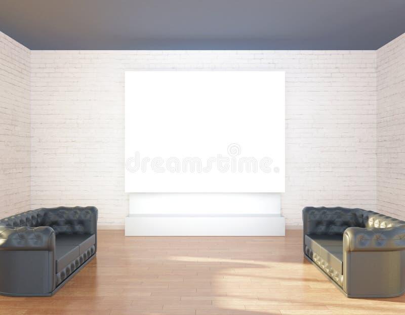 Εσωτερικό με τους καναπέδες και whiteboard ελεύθερη απεικόνιση δικαιώματος
