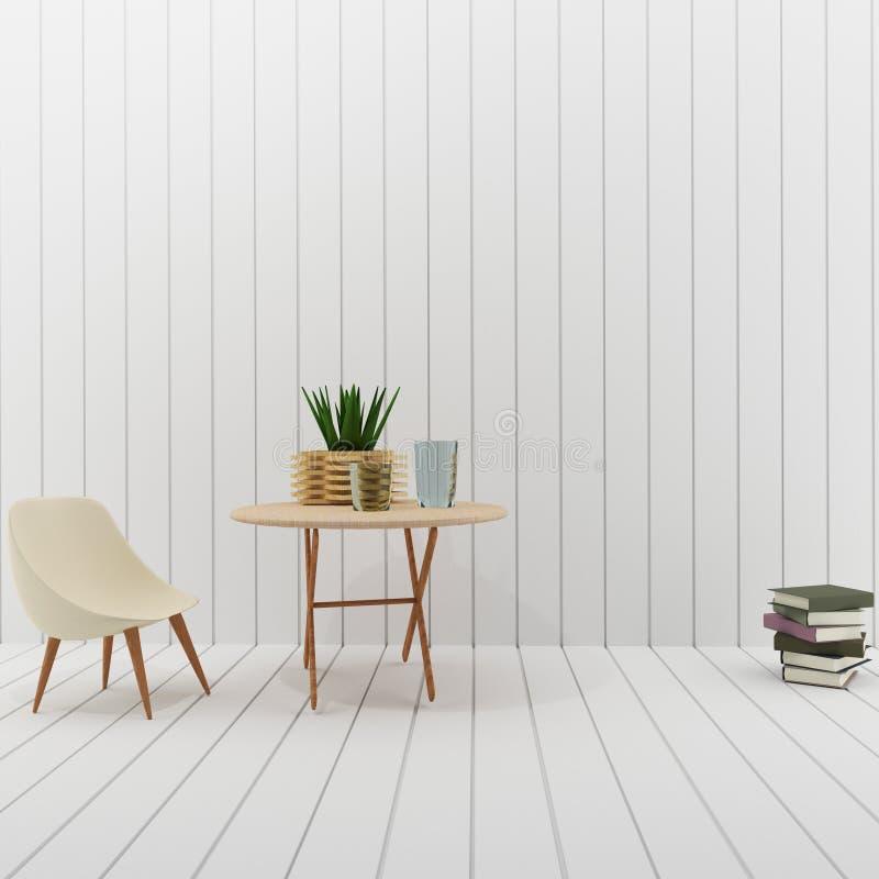 Εσωτερικό με το άσπρο σχέδιο δωματίων σοφιτών στην τρισδιάστατη απόδοση ελεύθερη απεικόνιση δικαιώματος