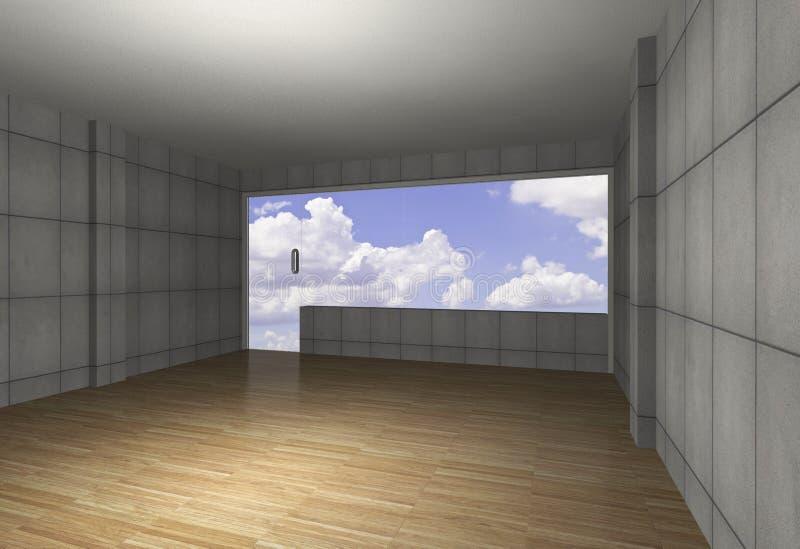 Εσωτερικό με το γυμνό συμπαγή τοίχο και το ξύλινο πάτωμα ελεύθερη απεικόνιση δικαιώματος