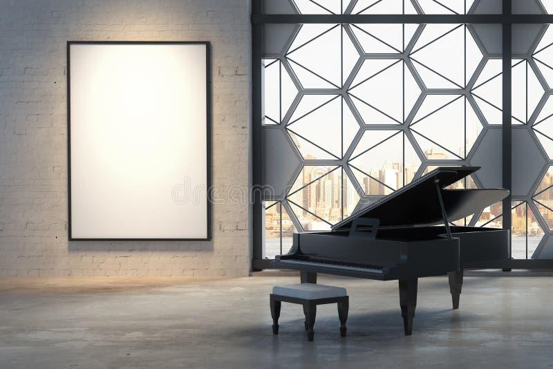 Εσωτερικό με το πιάνο και την αφίσα διανυσματική απεικόνιση