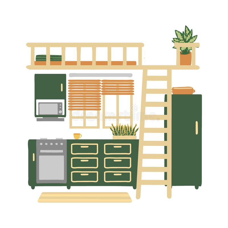 Εσωτερικό μιας άνετης κουζίνας που απομονώνεται στο άσπρο υπόβαθρο Καθιερώνον τη μόδα εγχώριο ντεκόρ με τις εγκαταστάσεις στα δοχ απεικόνιση αποθεμάτων