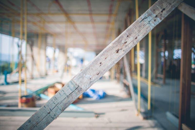 Εσωτερικό ξύλινο διάστημα εργοτάξιων οικοδομής στοκ φωτογραφία