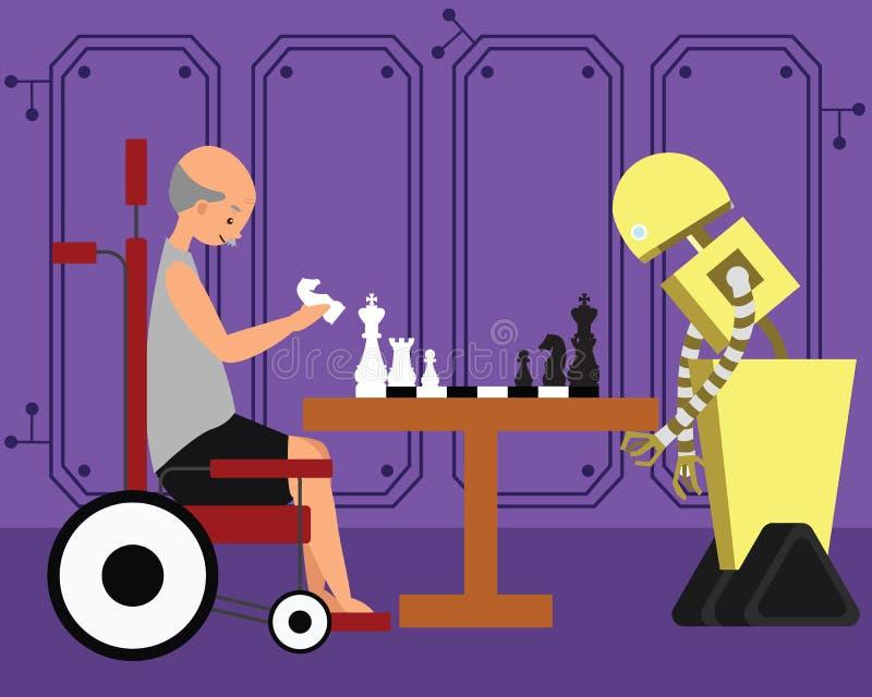 Εσωτερικό παιχνίδι σκακιού ρομπότ παίζοντας με τη συνεδρίαση παππούδων στην αναπηρική καρέκλα του διανυσματική απεικόνιση