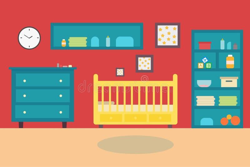 Εσωτερικό παιδιών κρεβατοκάμαρων δωματίων μωρών έπιπλα και παιχνίδια Χώρος για παιχνίδη για το παιδί στο επίπεδο ύφος επίσης core διανυσματική απεικόνιση