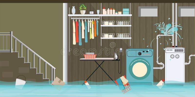 Εσωτερικό πλημμυρισμένο δάπεδο υπογείων του δωματίου πλυντηρίων με το leaky pi απεικόνιση αποθεμάτων