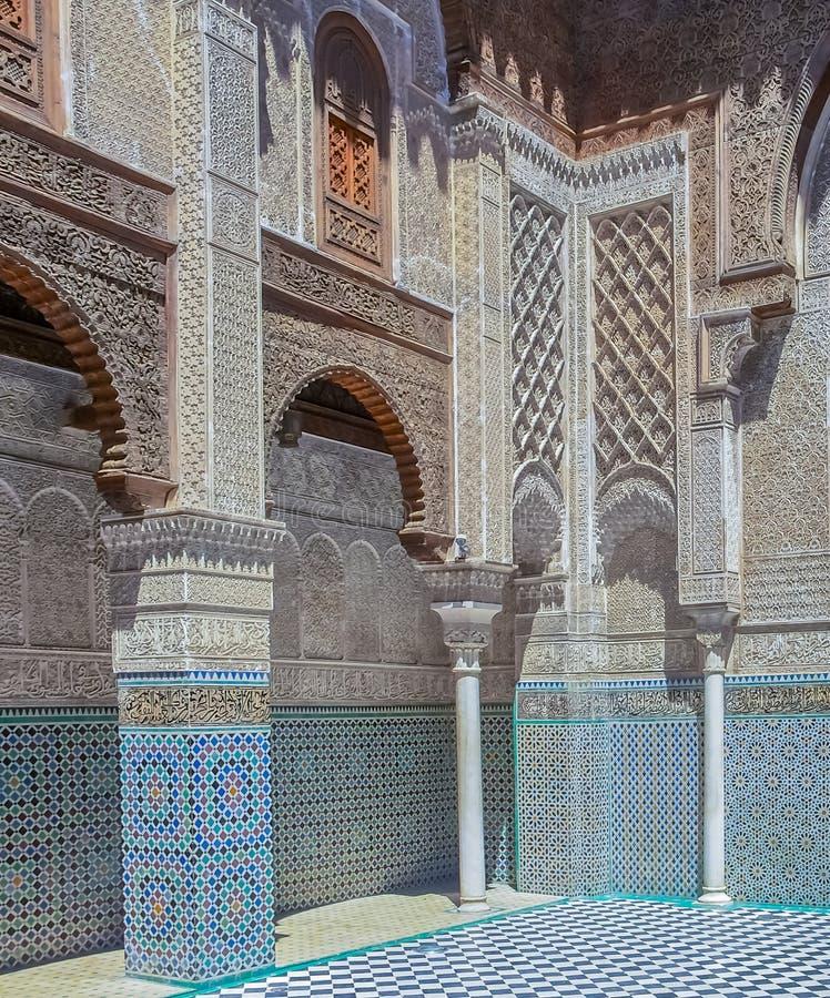 Εσωτερικό προαύλιο ενός μαροκινού medersa στοκ φωτογραφίες με δικαίωμα ελεύθερης χρήσης