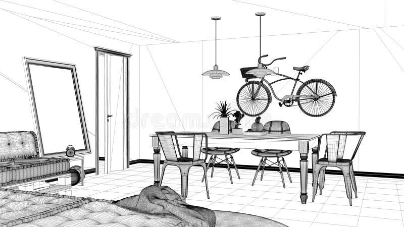 Εσωτερικό πρόγραμμα σχεδίου, γραπτό σκίτσο μελανιού, σχεδιάγραμμα αρχιτεκτονικής που παρουσιάζει minimalistic καθιστικό με τον κα απεικόνιση αποθεμάτων
