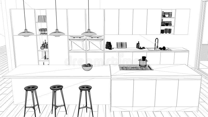 Εσωτερικό πρόγραμμα σχεδίου, γραπτό σκίτσο μελανιού, σχεδιάγραμμα αρχιτεκτονικής που παρουσιάζει μινιμαλιστική κουζίνα με το νησί απεικόνιση αποθεμάτων