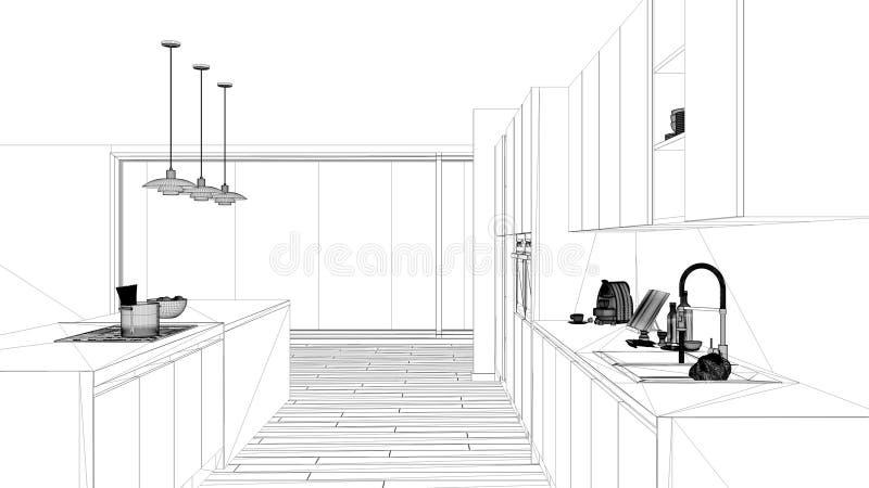 Εσωτερικό πρόγραμμα σχεδίου, γραπτό σκίτσο μελανιού, σχεδιάγραμμα αρχιτεκτονικής που παρουσιάζει μινιμαλιστική κουζίνα με το νησί ελεύθερη απεικόνιση δικαιώματος