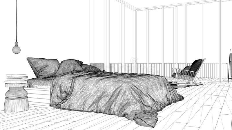 Εσωτερικό πρόγραμμα σχεδίου, γραπτό σκίτσο μελανιού, σχεδιάγραμμα αρχιτεκτονικής που παρουσιάζει μινιμαλιστική κρεβατοκάμαρα με τ διανυσματική απεικόνιση