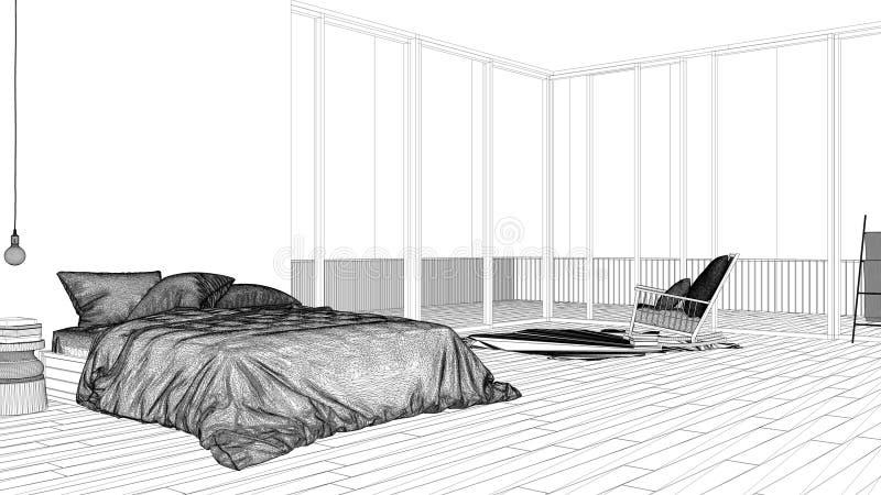 Εσωτερικό πρόγραμμα σχεδίου, γραπτό σκίτσο μελανιού, σχεδιάγραμμα αρχιτεκτονικής που παρουσιάζει μινιμαλιστική κρεβατοκάμαρα με τ απεικόνιση αποθεμάτων