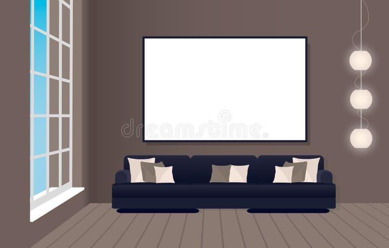 Εσωτερικό πρότυπο στο ύφος σοφιτών με τον καναπέ και το κενό πλαίσιο Έννοια σχεδίου Hipster διανυσματική απεικόνιση