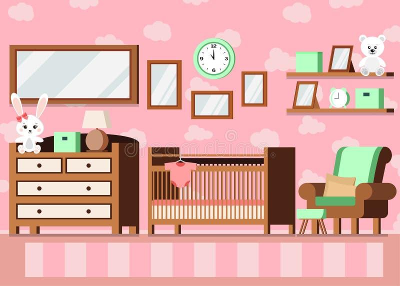 Εσωτερικό ρόδινο υπόβαθρο χρώματος δωματίων μωρών του άνετου κοριτσιού ελεύθερη απεικόνιση δικαιώματος