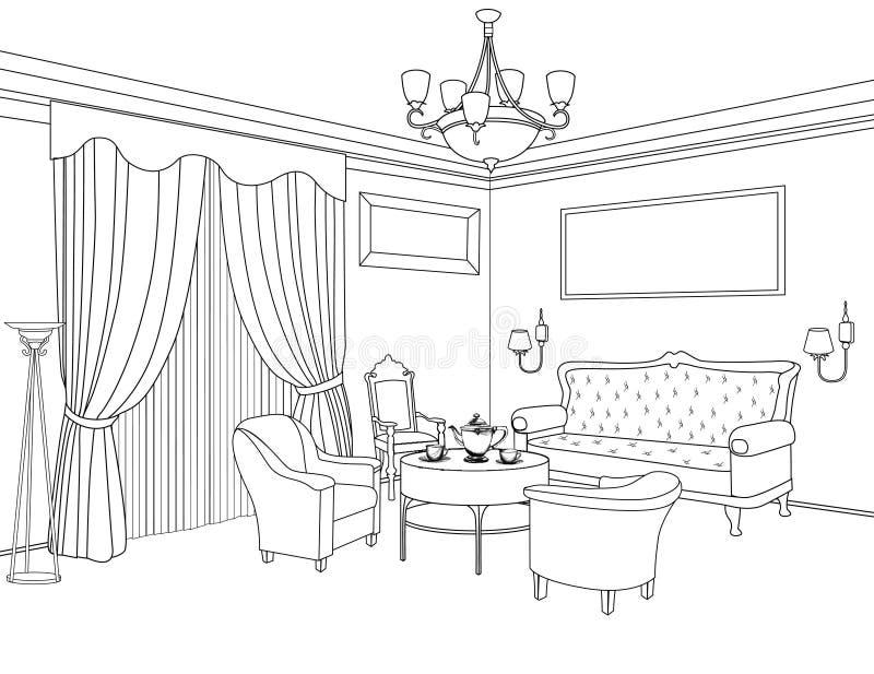 Εσωτερικό σκίτσο περιλήψεων έπιπλα Αρχιτεκτονικό σχέδιο απεικόνιση αποθεμάτων