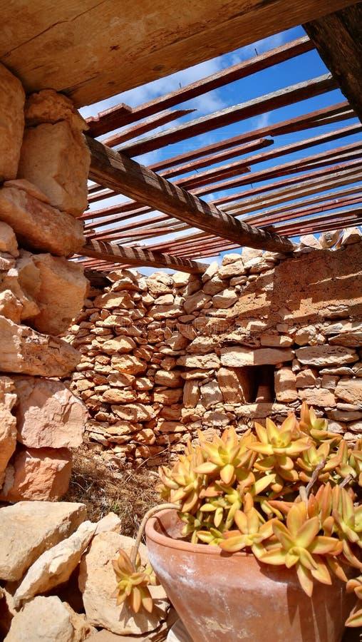 Εσωτερικό σπίτι σε Lampedusa, Σικελία στοκ εικόνα
