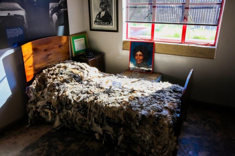 Εσωτερικό σπίτι του Νέλσον Μαντέλα σε Soweto Νότια Αφρική στοκ φωτογραφία με δικαίωμα ελεύθερης χρήσης