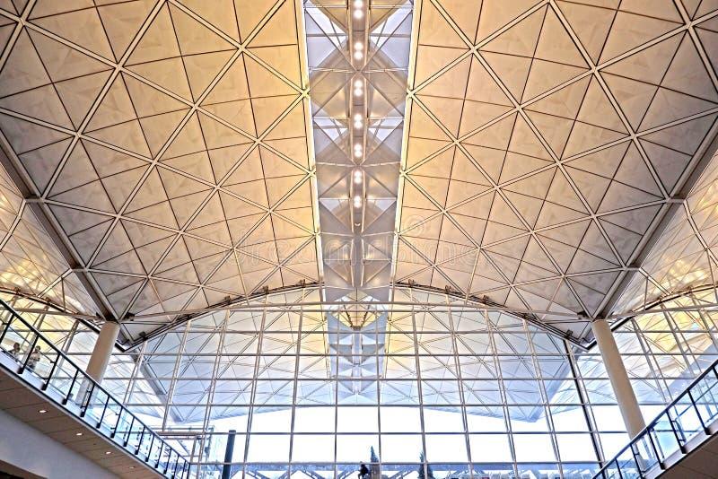 Εσωτερικό σχέδιο αρχιτεκτονικής του διεθνούς αερολιμένα Χονγκ Κονγκ στοκ φωτογραφία