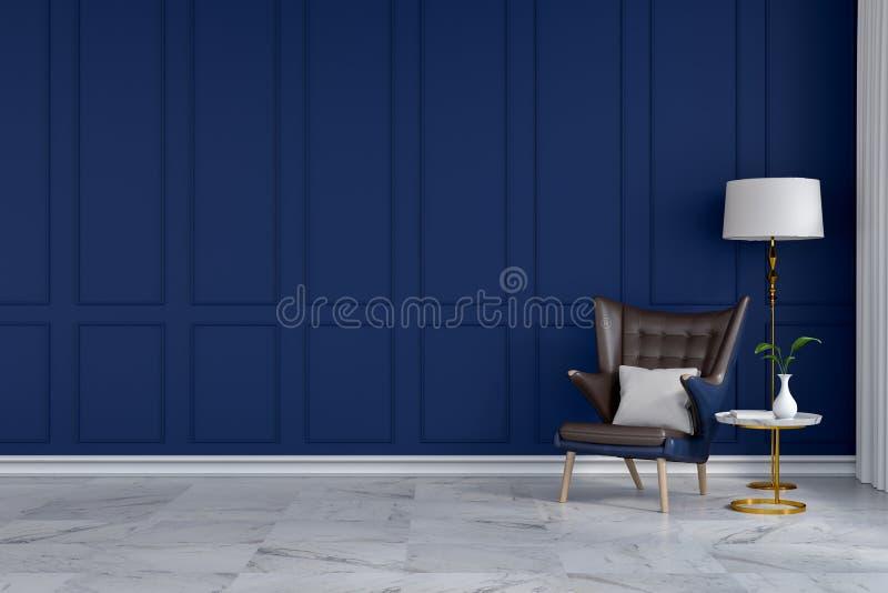 εσωτερικό σχέδιο δωματίων πολυτέλειας το σύγχρονο, μπλε καρέκλα σαλονιών με τον άσπρο λαμπτήρα στον μπλε τοίχο το /3d δίνει διανυσματική απεικόνιση