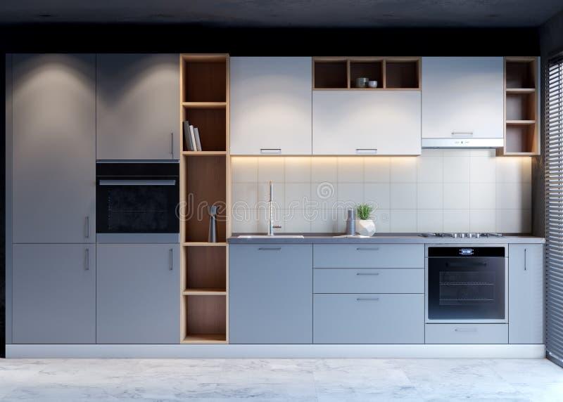 Εσωτερικό σχέδιο κουζινών με το σύγχρονο ύφος, τρισδιάστατη δίνοντας έννοια στοκ εικόνα