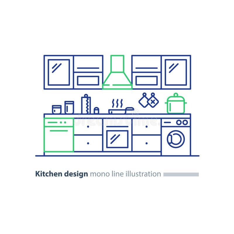 Εσωτερικό σχέδιο κουζινών, σύνολο επίπλων, σχέδιο ρύθμισης ελεύθερη απεικόνιση δικαιώματος
