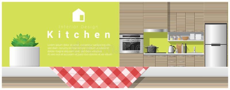 Εσωτερικό σχέδιο με την επιτραπέζια κορυφή και το σύγχρονο υπόβαθρο κουζινών διανυσματική απεικόνιση