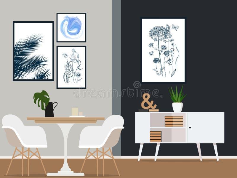 Εσωτερικό σχέδιο μιας σύγχρονης τραπεζαρίας με τα μοντέρνα έπιπλα Διανυσματική επίπεδη απεικόνιση ελεύθερη απεικόνιση δικαιώματος