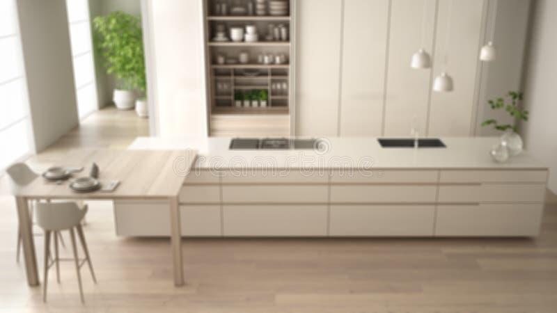 Εσωτερικό σχέδιο υποβάθρου θαμπάδων, άσπρη μινιμαλιστική κουζίνα στο φιλικό διαμέρισμα eco, νησί, πίνακας, σκαμνιά, ανοικτό γραφε ελεύθερη απεικόνιση δικαιώματος