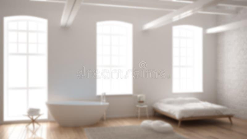 Εσωτερικό σχέδιο υποβάθρου θαμπάδων, κλασική βιομηχανική σύγχρονη κρεβατοκάμαρα με τα μεγάλα παράθυρα, τουβλότοιχος, πάτωμα παρκέ στοκ εικόνα
