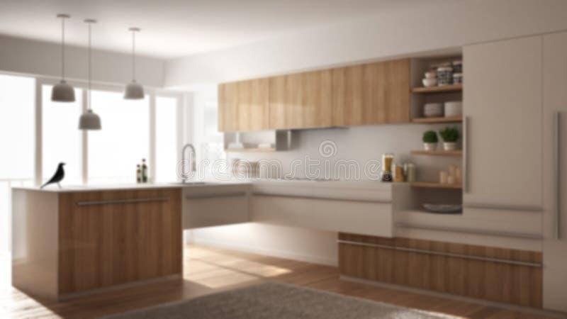 Εσωτερικό σχέδιο υποβάθρου θαμπάδων, σύγχρονη minimalistic ξύλινη κουζίνα με το πάτωμα παρκέ, τάπητας και πανοραμικό παράθυρο, άσ στοκ εικόνες