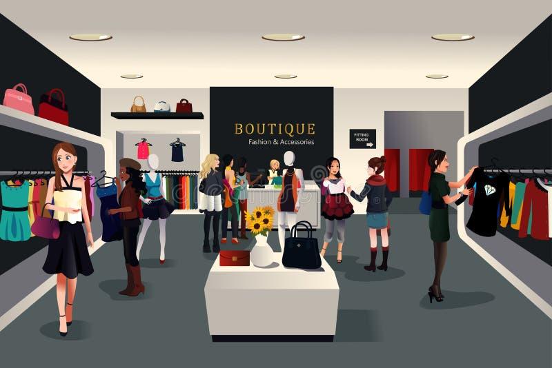 Εσωτερικό σύγχρονο κατάστημα ιματισμού διανυσματική απεικόνιση