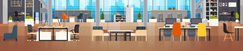 Εσωτερικό σύγχρονο οριζόντιο έμβλημα περιβάλλοντος κεντρικών δημιουργικό εργασιακών χώρων Coworking γραφείων Coworking ελεύθερη απεικόνιση δικαιώματος