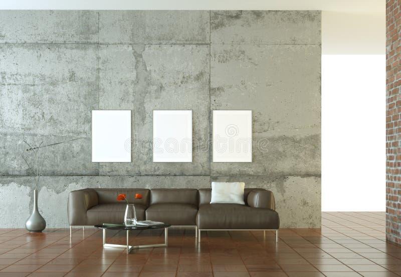 Εσωτερικό σύγχρονο φωτεινό δωμάτιο σχεδίου με τον καφετή καναπέ