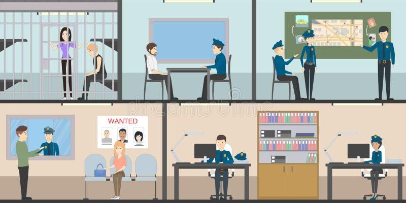 Εσωτερικό σύνολο αστυνομικών τμημάτων απεικόνιση αποθεμάτων