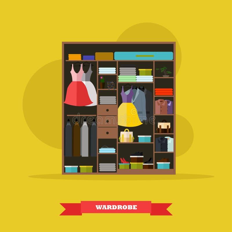 Εσωτερικό σύνολο δωματίων ντουλαπών των υφασμάτων γυναικών και ανδρών Διανυσματική απεικόνιση στο επίπεδο σχέδιο ύφους ελεύθερη απεικόνιση δικαιώματος