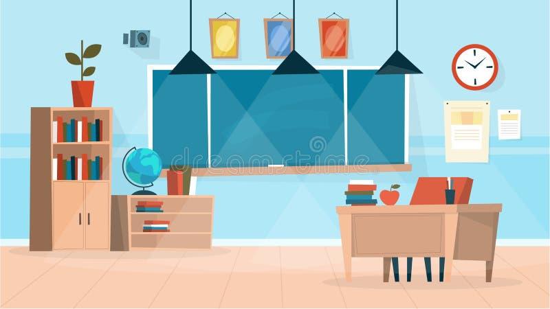 Εσωτερικό τάξεων Πίνακας κιμωλίας και ένα γραφείο δασκάλων διανυσματική απεικόνιση
