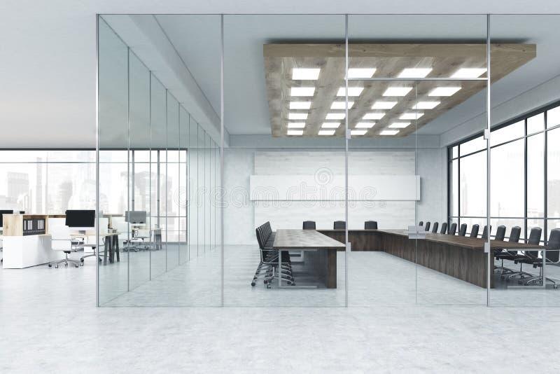 Εσωτερικό της αίθουσας συνεδριάσεων του γυαλιού απεικόνιση αποθεμάτων