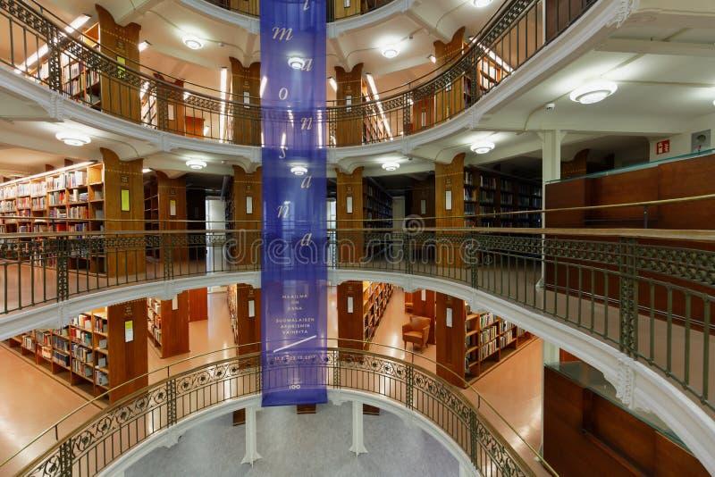 Εσωτερικό της εθνικής βιβλιοθήκης της Φινλανδίας στοκ φωτογραφία