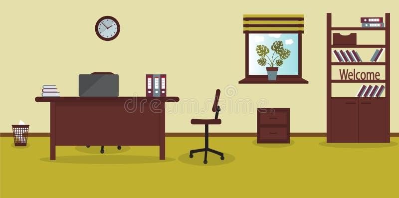 Εσωτερικό της θέσης εργασίας στο γραφείο στο ελαφρύ υπόβαθρο ασβέστη επίσης corel σύρετε το διάνυσμα απεικόνισης Έπιπλα: πίνακας, απεικόνιση αποθεμάτων