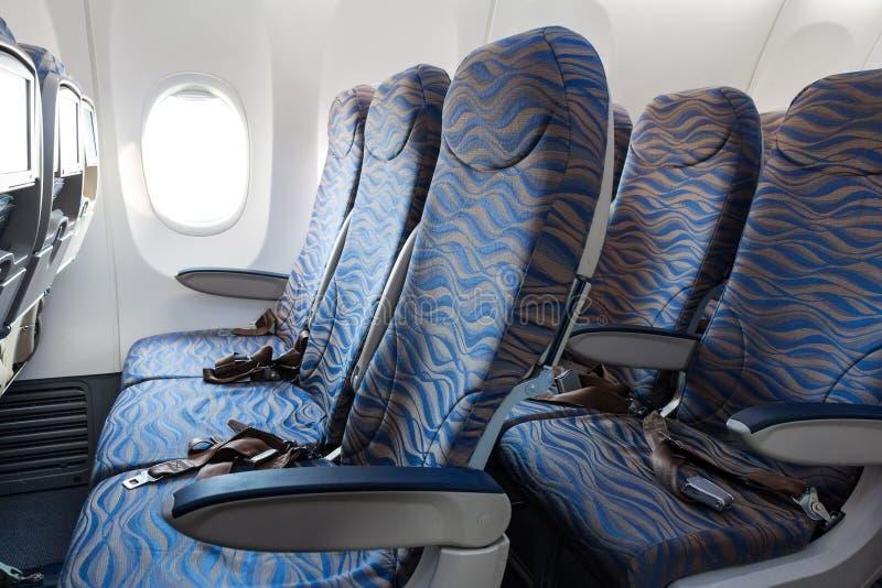 Εσωτερικό της κενής καμπίνας αεροσκαφών στοκ εικόνες